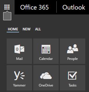 Pelancar aplikasi Office 365 menunjukkan jubin Mel, Kalendar, Individu, Yammer dan OneDrive