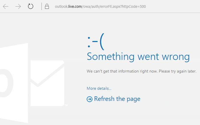 """Kod ralat 500 """"Suatu yang tidak kena telah berlaku"""" Outlook.com"""