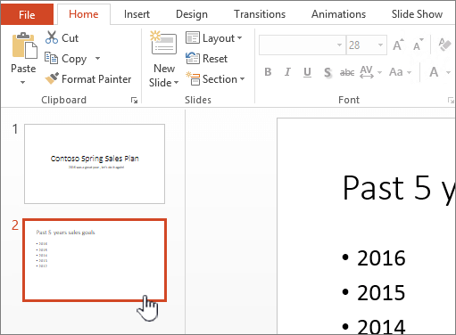 Pandangan normal dengan imej kecil slaid yang dipilih