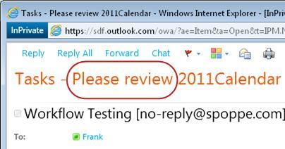 Sila luluskan teks pada baris Subjek pemberitahuan tugas