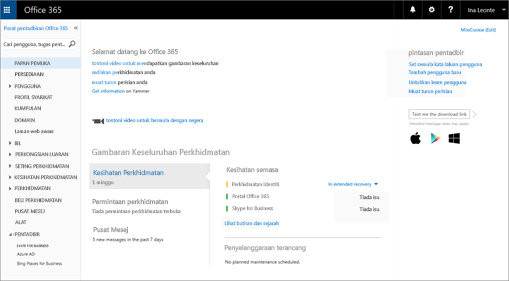 Contoh rupa pusat pentadbiran Office 365 kelihatan apabila anda mempunyai Pelan Skype for Business Online.