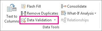 Pengesahihan Data pada tab Data