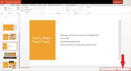 Untuk memulakan tayangan slaid dari slaid semasa, klik butang tayangan slaid di sudut bawah kanan pelayar anda.