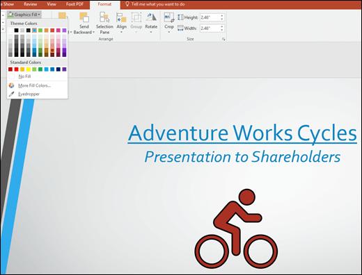 Gunakan alat grafik isian untuk mengubah warna imej SVG anda