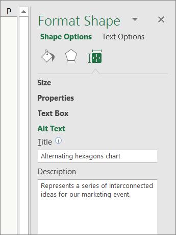 Petikan skrin kawasan teks Alt anak tetingkap Format bentuk yang menerangkan grafik SmartArt yang dipilih