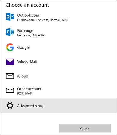 Pilih kotak dialog akaun, yang menunjukkan senarai perkhidmatan e-mel.