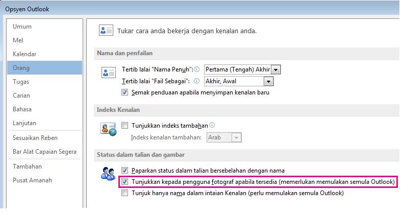 Petikan skrin tetingkap Opsyen Outlook dengan kotak semak Dayakan gambar diserlahkan