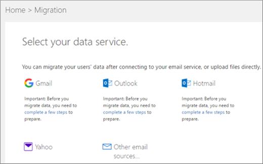 Pilih perkhidmatan e-mel