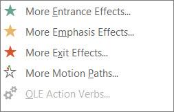 Lebih banyak kesan animasi dalam PowerPoint
