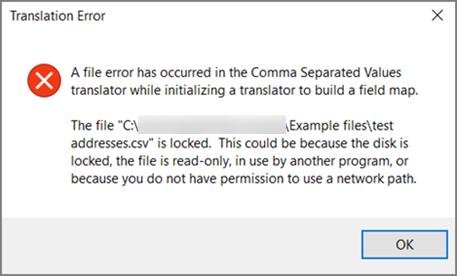 Ini adalah mesej ralat yang anda akan mendapat jika fail .csv anda tidak diformatkan data.