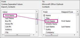 Pemetaan lajur daripada Excel kepada medan kenalan Outlook