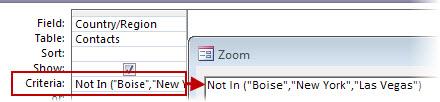 "Untuk memaparkan semua kenalan yang bukan di UK atau AS atau Perancis, gunakan kriteria Bukan Dalam (""Teks"", ""Teks"", ""Teks""…)"