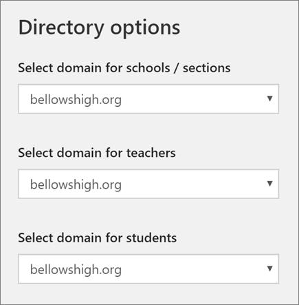 Petikan skrin pemilihan domain untuk sekolah/Seksyen, guru dan pelajar di sekolah Data penyegerakan