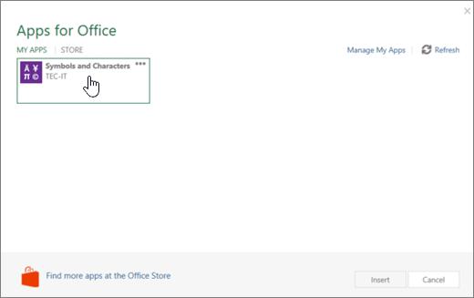 Petikan skrin menunjukkan tab aplikasi saya pada halaman aplikasi untuk Office.
