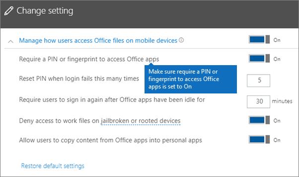 Pastikan yang memerlukan PIN atau cap jari untuk capaian aplikasi Office disetkan kepada pada.