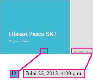 Tambah tarikh, masa dan nombor slaid