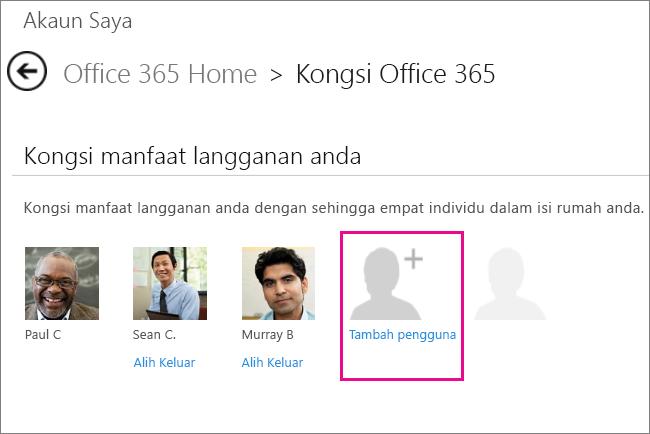 """Petikan skrin Berkongsi halaman Office 365 dengan opsyen """"Tambah pengguna"""" dipilih."""