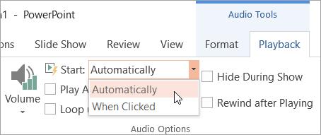 Memilih opsyen mula pada tab main semula alat Audio