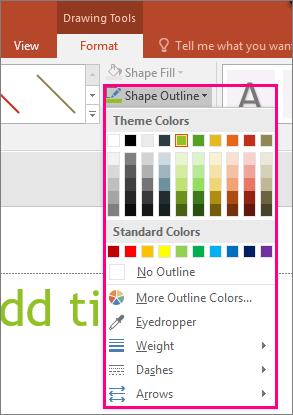 Menunjukkan opsyen warna garis dalam Office