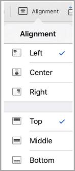 menu penjajaran teks iPad