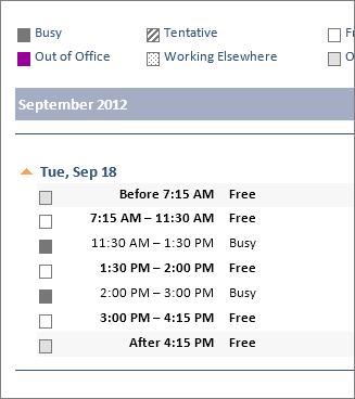 Contoh kalendar yang dikongsi dalam e-mel
