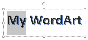 WordArt dengan beberapa teks terpilih