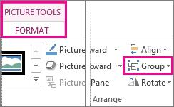 Butang Kumpul didapati pada tab Format Alat Gambar