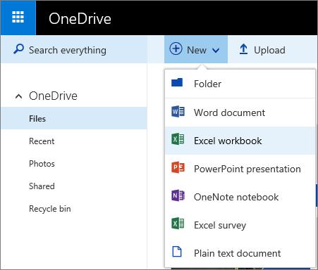 Petikan skrin mencipta dokumen daripada OneDrive.com