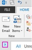 Klik anak panah untuk mengembangkan anak tetingkap Folder.