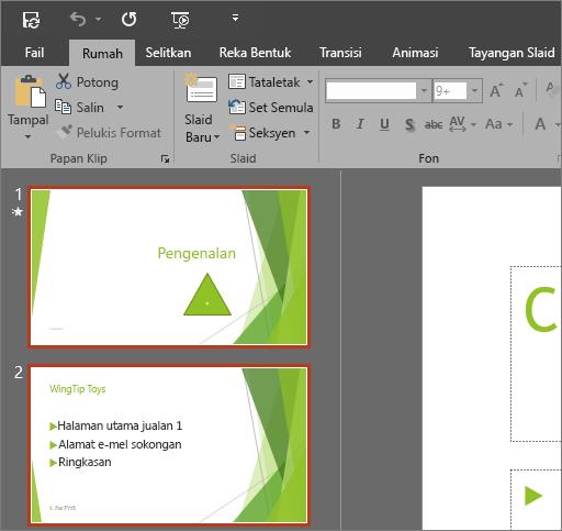 Menunjukkan PowerPoint 2016 dengan tema Kelabu Gelap digunakan
