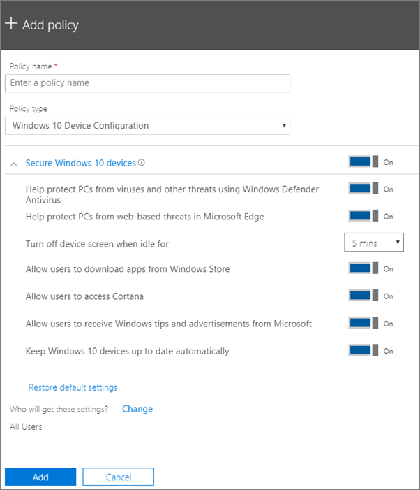 Menambah dasar tetingkap dengan konfigurasi peranti Windows 10 yang dipilih