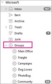 Kumpulan yang disenaraikan dalam anak tetingkap folder Outlook 2016 for Mac