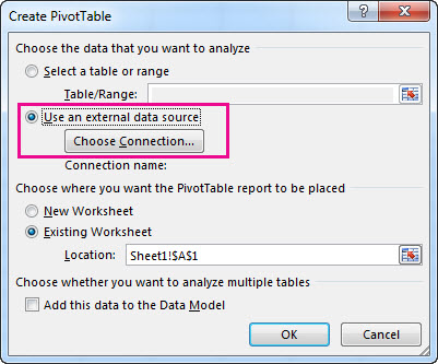 Create PivotTable dialog box with use and external data source selected