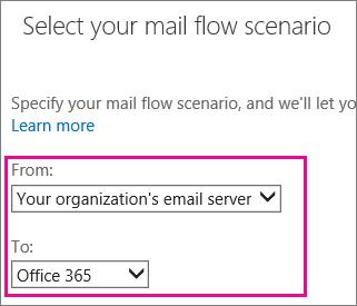 Pilih daripada pelayan e-mel organisasi anda untuk Office 365