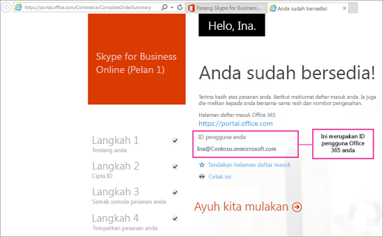 Apabila anda membeli Skype for Business Online, anda mencipta akaun Office 365.