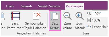 Petikan skrin butang Saiz Kertas dalam OneNote 2016.