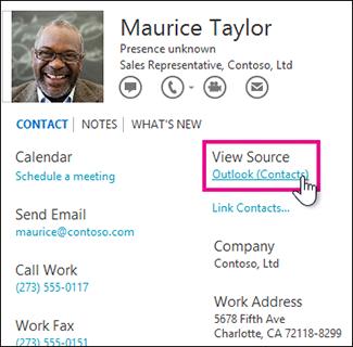 Pautan Lihat Sumber Outlook dalam kad kenalan