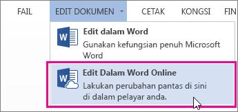 Imej perintah Edit dalam Word Online