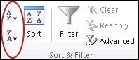 Butang isih dalam kumpulan Isih & Tapis pada tab Data dalam Excel