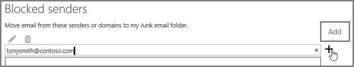 Menyekat penghantar dalam Outlook Web App