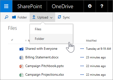 Petikan skrin yang memuat naik folder dalam OneDrive for business dalam SharePoint Server 2016 dengan pek ciri 1