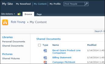 Laman Saya SharePoint 2010