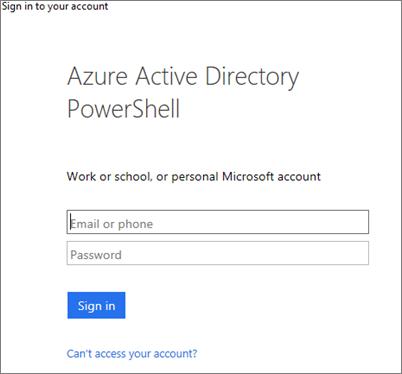 Masukkan kelayakan pentadbir Azure Active Directory anda