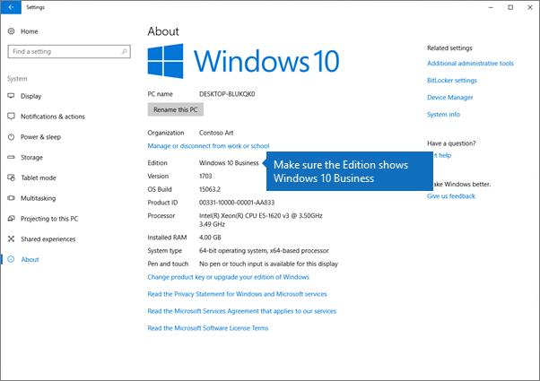 Sahkan bahawa Windows edisi Windows 10 perniagaan.