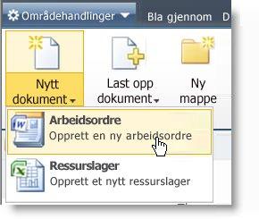 Innholdstyper vises på Ny-menyen for en liste eller et bibliotek.