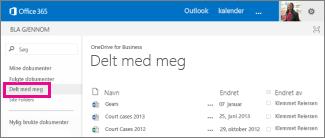Koblingen Delt med meg i OneDrive for Business