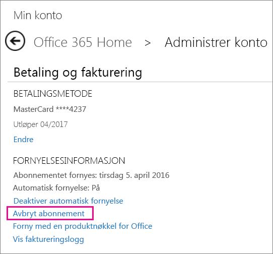 Avbryte Office-abonnementet
