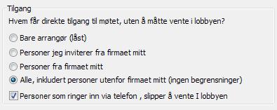Alternativer for møtetilgang i Lync