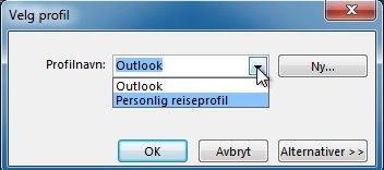 Dialogboks for valg av Outlook-profil
