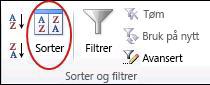 Sorter-kommandoen i gruppen Sorter og filtrer i kategorien Data